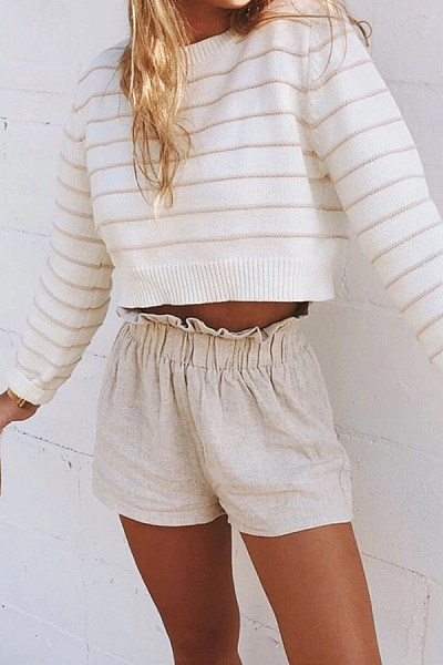 Casual Short Striped Knit Sweater