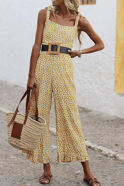 Casual Printed Colour Sling Jumpsuit