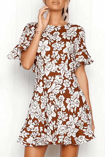 Round Neck  Printed  Short Sleeve Bodycon Dresses