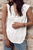 Deep V Neck Lace Patchwork Vests