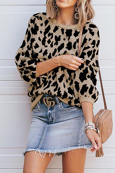 Round Neck Fashion Leopard Long Sleeve Loose Knitting Sweaters