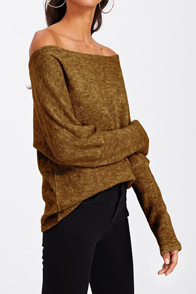 Off Shoulder  Plain  Elegant Sweaters