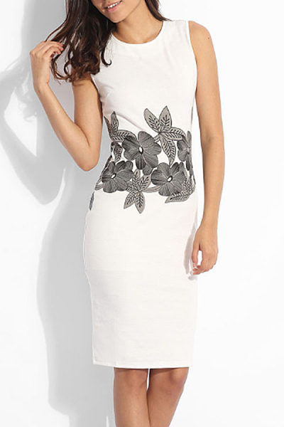Crew Neck  Slit  Floral  Sleeveless Bodycon Dresses