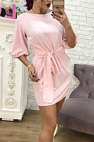 Scoop Neck  Belt  Plain  Short Sleeve Casual Dresses