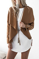 Fashion Lapel  Plain Jackets