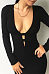 Deep V Neck  Cutout  Plain  Long Sleeve Bodycon Dresses