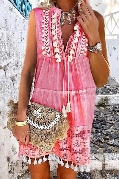 Fashion Inwrought Tassel V Neck Jumper Skirt