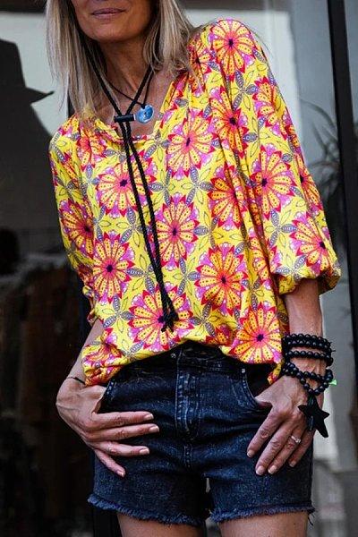 Casual V-Neck Flower Print Long-Sleeved T-Shirt