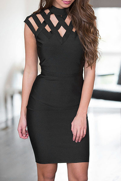 Round Neck  Hollow Out Plain Bodycon Dresses