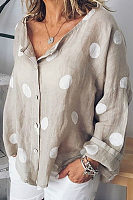 V Neck  Single Breasted  Dot  Blouses