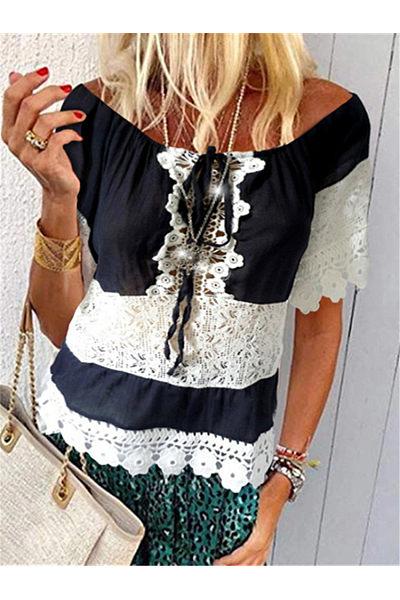 Fashion Lace Stitching Hollow Out T Shirt