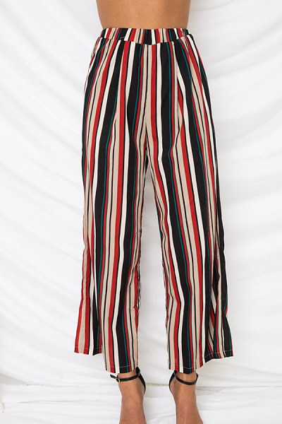 Polyester Casual Summer Striped Pants