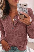 Solid V-Neck Long Sleeve T-Shirt
