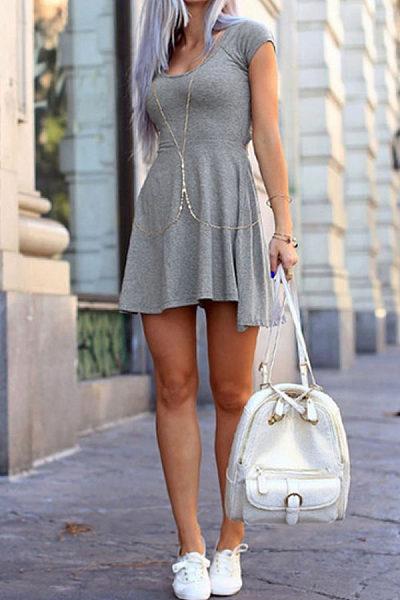 Round Neck  Asymmetric Hem Backless  Plain  Short Sleeve Skater Dresses
