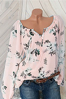 Casual V Neck Long Sleeves Printed Shirt