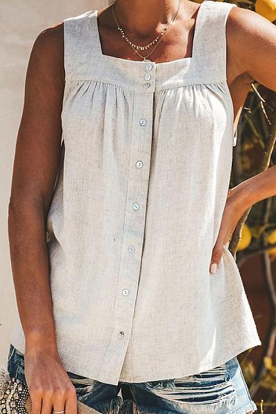 Square-Cut Collar Off-Shoulder Pure Colour Button Camis