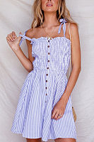 Spaghetti Strap  Single Breasted  Striped  Sleeveless Casual Dresses