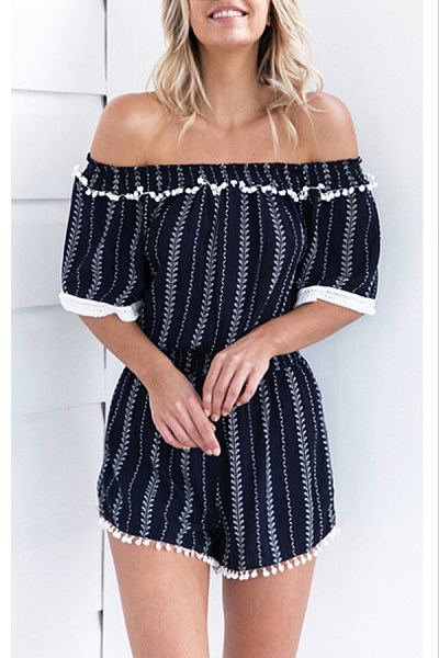 Off Shoulder  Backless  Abstract Print  Half Sleeve  Playsuits