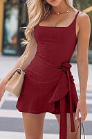 Spaghetti Strap  Plain  Sleeveless Bodycon Dresses
