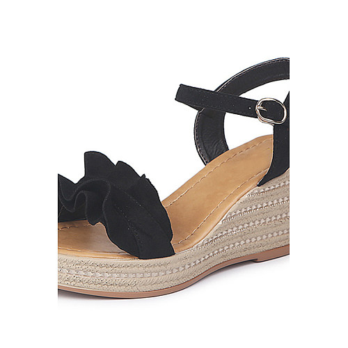 Plain  High Heeled  Velvet  Ankle Strap  Peep Toe  Date Outdoor Wedge Sandals