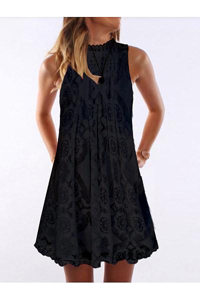 Casual Round Neck Sleeveless Lace Dress