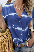 V Neck  Single Breasted  Ikat  Blouses