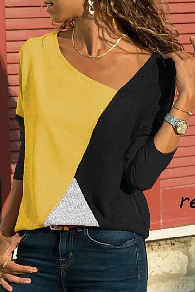 Asymmetric Neck  Patchwork  Contrast Stitching T-Shirts