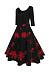 Round Neck  Patchwork  Printed  Cotton Skater Dress