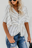 V Neck  Striped  Batwing Sleeve  Blouses