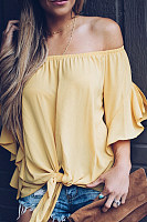Off Shoulder  Bow  Plain Ruffle Sleeve Blouses