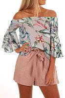 Off Shoulder  Floral Printed  Bell Sleeve  Blouses