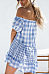 Off Shoulder  Gingham  Short Sleeve Casual Dresses