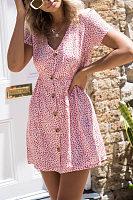 V Neck  Single Breasted  Dot  Short Sleeve Casual Dresses