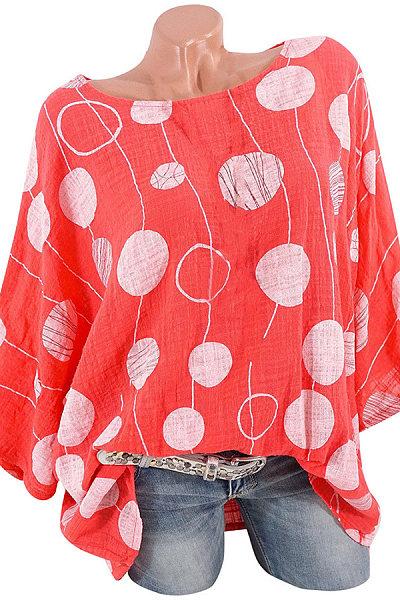 Casual Round Neck Bat Sleeve Dot Print Multicolor Loose Shirt
