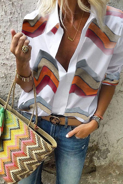 Casual V-Neck Color Striped Long-Sleeved Shirt
