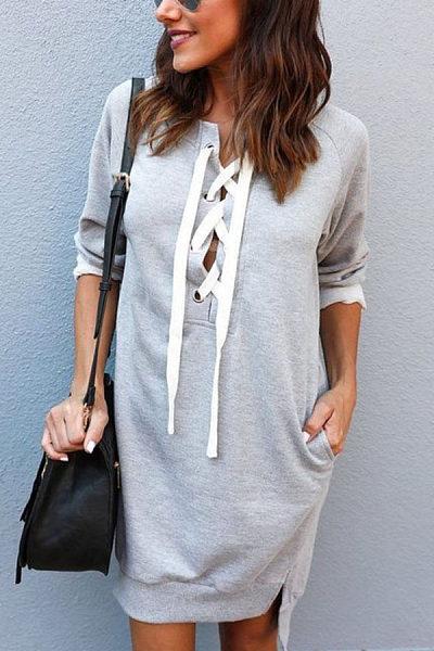 Deep V Neck  Asymmetric Hem Lace Up  Plain  Long Sleeve Casual Dresses