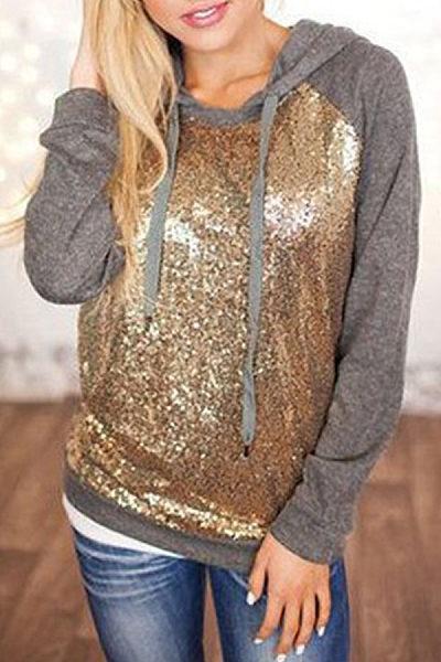 Halter  Drawstring  Glitter  Patchwork Sweatshirts