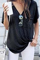 V-Neck Pocket With Irregular Hem Short Sleeve T-Shirt