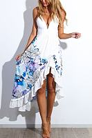 Flounce Print Maxi Dress