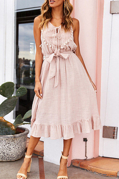 Summer Sleeveless Strappy Fringe Decorated Dress