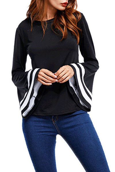 Round Neck  Contrast Trim  Contrast Stitching  Bell Sleeve  Blouses