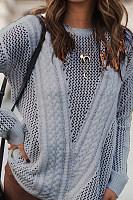 Round  Neck  Cutout  Plain  Sweaters