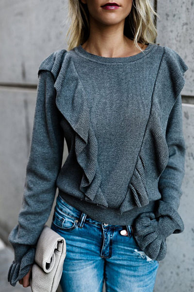 Round Neck  Tiered  Plain  Bell Sleeve Sweaters