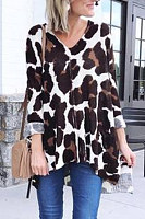 V Neck  Leopard Printed Sweaters