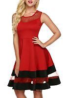 Red Mesh Patchwork Color Block Skater Dress