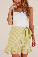 Flounce  Belt  Striped Skirts