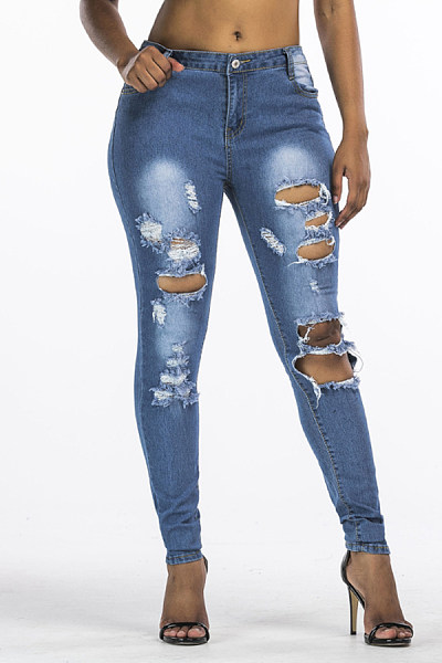Broken Holes  Ripped  Plain Jeans