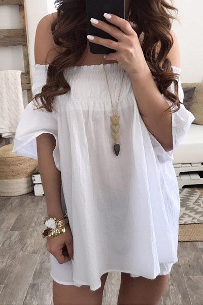 Off Shoulder  Backless  Plain  Short Sleeve Casual Dresses