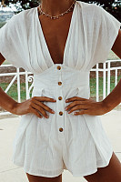 Deep V Neck  Decorative Buttons  Plain  Short Sleeve  Playsuits