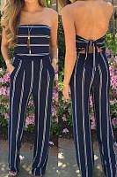 Blue Fashion Stripe Print Backless Jumpsuits